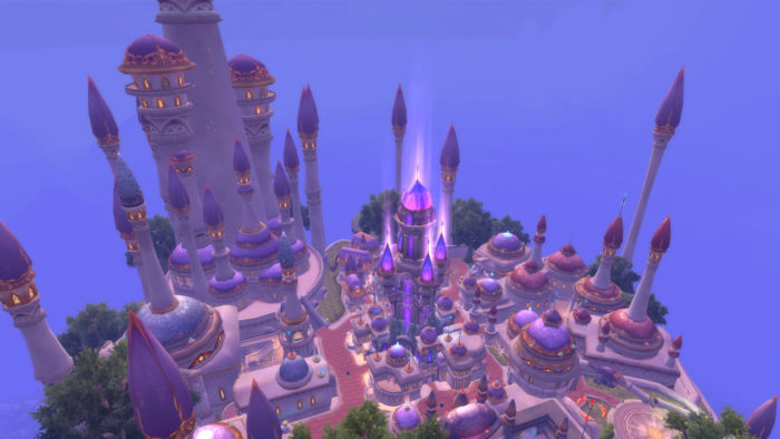 A screenshot of the flying city, Dalaran, above the Broken Isles, from World of Warcraft: Legion.