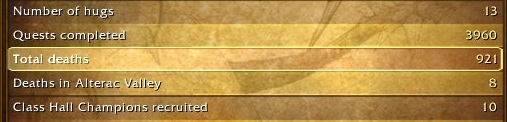 The death count statistic from my level 110 mage. It's 921.